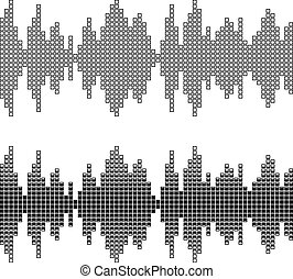 black square sound wave patterns