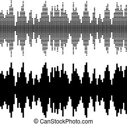 black square sound wave patterns
