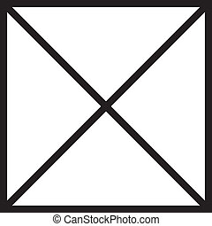 Black square with cross diagonals