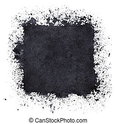 Black square with paint stains