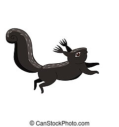 Black squirrel isolated on a white background. Vector graphics.