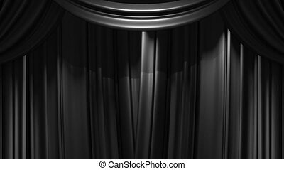 Black Stage Curtain On Black Background. 3D render Animation...