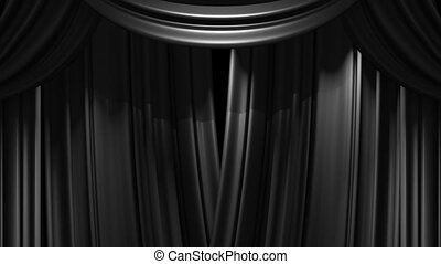 Blue Stage Curtain On Black Background 3d Render Animation