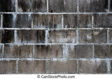 Black stain on white brick concrete wall background