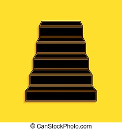 Black Staircase icon isolated on yellow background. Long shadow style. Vector