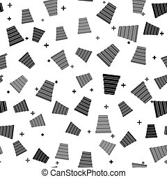 Black Staircase icon isolated seamless pattern on white background. Vector Illustration