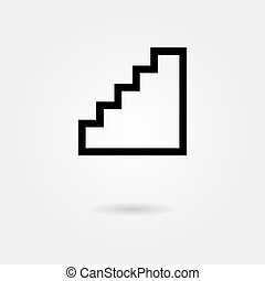 black stairway icon with shadow
