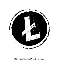 Black stamp and litecoin icon. Vector Illustration. Business...