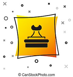 Black Stamp icon isolated on white background. Yellow square button. Vector