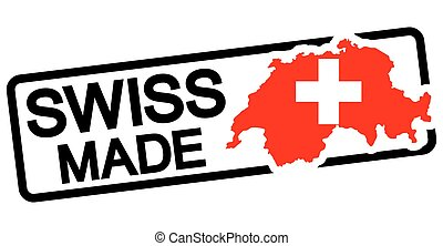 black stamp with text Swiss made