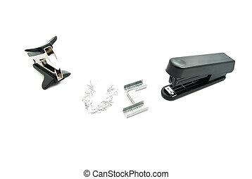 black stapler and staple remover