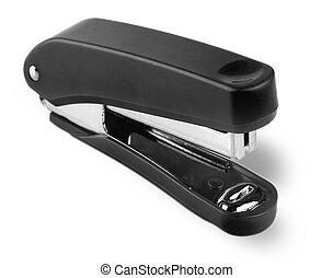 Black stapler isolated on white background.