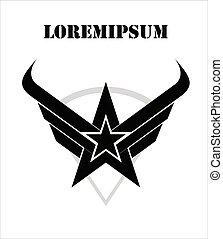 black star, arrow head, wing and shield.