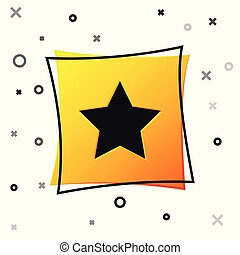 Black Star icon isolated on white background. Favorite, best rating, award symbol. Yellow square button. Vector Illustration