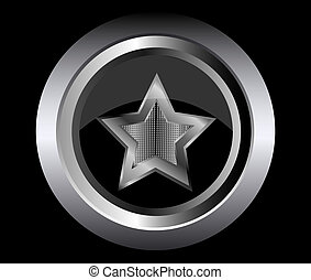 black star metal button vector