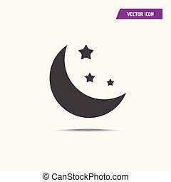 Black stars and crescent moon icon.