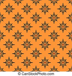 Black stars pattern on orange seamless design backdrop.