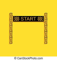 Black Starting line icon isolated on yellow background. Start symbol. Long shadow style. Vector