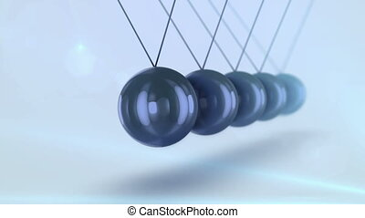 """A striking 3d rendering of black steel balls pendulum with waving diagonally beads beating each other in a light blue background with blurred dots. They look impressive and smart in seamless loops."""