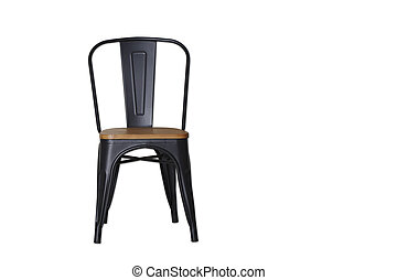 black steel chair clipping path on white