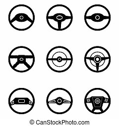 black steering wheel a collection of icons