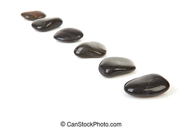 black stepping stones in a row