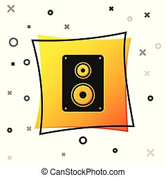 Black Stereo speaker icon isolated on white background. Sound system speakers. Music icon. Musical column speaker bass equipment. Yellow square button. Vector Illustration