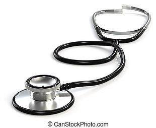 Stethoscope - Black Stethoscope. White Background.