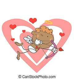 Black Stick Cupid Over Hearts