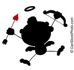 Black Stick Silhouette Cupid