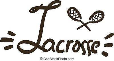 Black sticks for lacrosse with lettering. Vector illustration