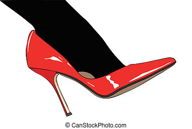 Black stockings and red shoes