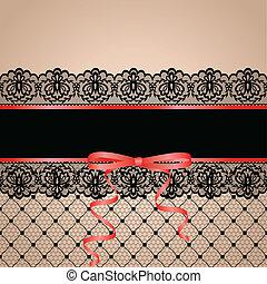 garter - Black stockng with lace garter
