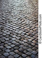 Black stone footpath