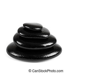 Black stones over white background