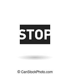 black stop sign flat vector icon