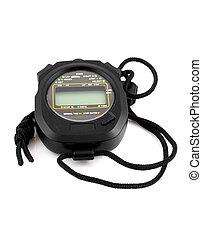Black stopwatch isolated on white background