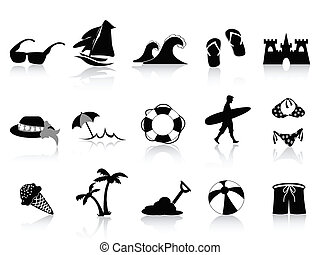 black , strand, pictogram, set