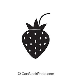 black strawberry icon isolated on white background. vector illustration