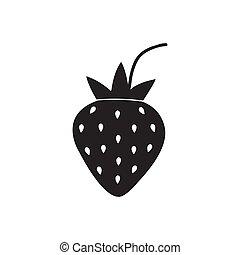 black strawberry icon isolated on white background. vector illustration