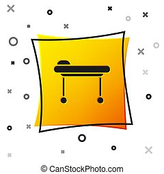 Black Stretcher icon isolated on white background. Patient hospital medical stretcher. Yellow square button. Vector Illustration