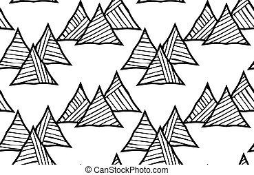 Black striped triangles diagonal pattern