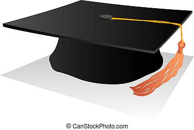 black student hat with orange fringe