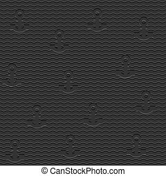 Black stylish seamless pattern with anchors