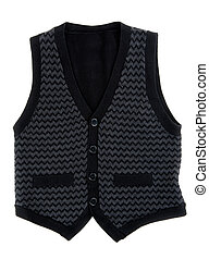 Black stylish vest isolated on white background