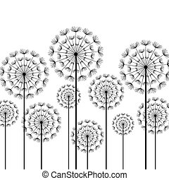 Black stylized dandelions on white background