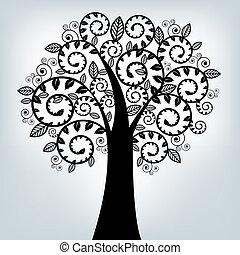 Black Stylized Tree, On Grey Background, Vector Illustration...