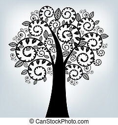 Black Stylized Tree, On Grey Background, Vector Illustration...