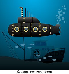 Black submarine sails underwater. Sunken ship on the seabed....