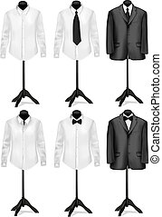 Black suit and white shirt with butterfly on mannequins. Vector illustration.